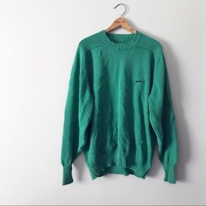 Puma Teal Knit Oversized Crew Neck Sweater